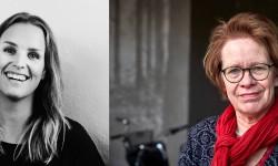 Elin Wernquist, t.v., och Cecilia Kjellgren mottar Stora Priset 2016.  Fotografer: Christian Gustavsson, bild t.v., och Hans Runesson, bild t.h.