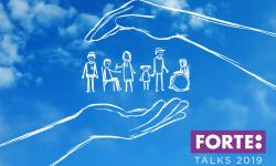 Tecknad bild med olika barn mellan två stora, skyddande händer.