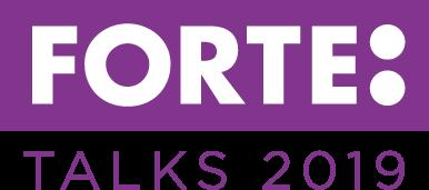 Logotyp för Forte Talks 2019 med violett bakgrund.